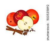 vector drawing of a few apples... | Shutterstock .eps vector #503535892