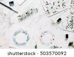 artist workspace. watercolor...   Shutterstock . vector #503570092