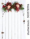 white barn door with a festive... | Shutterstock . vector #503578996