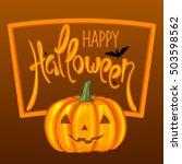 happy halloween greeting card.... | Shutterstock .eps vector #503598562