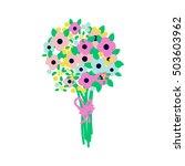 flower bouquet flat style... | Shutterstock .eps vector #503603962