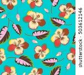 seamless tropical flowers ... | Shutterstock .eps vector #503612146