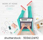 concept of working at home.... | Shutterstock .eps vector #503612692