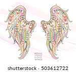 patterned wings on the grunge... | Shutterstock .eps vector #503612722