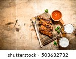 smoked barbecue ribs with... | Shutterstock . vector #503632732