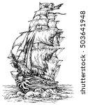 Pirate Ship   Hand Drawn Vector ...