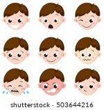 boy emotion faces cartoon.... | Shutterstock .eps vector #503644216
