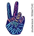 peace sign creative lettering... | Shutterstock .eps vector #503667142