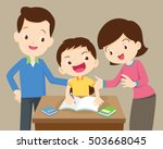 father and mother  helping son... | Shutterstock .eps vector #503668045
