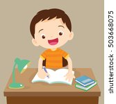 cute boy writing and thinking... | Shutterstock .eps vector #503668075