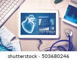 white tablet pc and doctor... | Shutterstock . vector #503680246