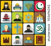 religious symbol icons set in... | Shutterstock . vector #503696242