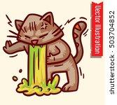 cute drunk cat  cartoon .... | Shutterstock .eps vector #503704852
