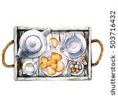 breakfast. watercolor... | Shutterstock . vector #503716432