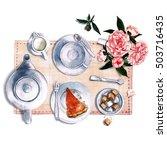 breakfast. watercolor... | Shutterstock . vector #503716435