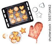 baking cookies. watercolor...   Shutterstock . vector #503716462