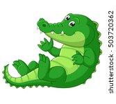 Happy Crocodile Cartoon Waving...