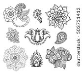 henna doodle vector elements.... | Shutterstock .eps vector #503721412