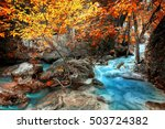 jungle landscape with flowing... | Shutterstock . vector #503724382
