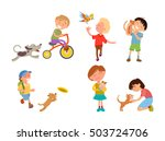 Stock vector children playing with their pets vector illustration kids with dog cat parrot cavy 503724706
