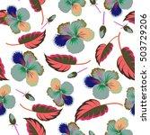 tropical design with hibiscus... | Shutterstock . vector #503729206