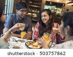 indian community eating...   Shutterstock . vector #503757862