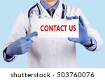 doctor keeps a card with the... | Shutterstock . vector #503760076
