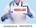 doctor keeps a card with the... | Shutterstock . vector #503760376