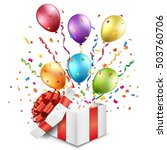 open gift box with colorful... | Shutterstock .eps vector #503760706
