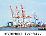port cargo crane and container... | Shutterstock . vector #503776516