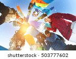 group of happy skiers and... | Shutterstock . vector #503777602