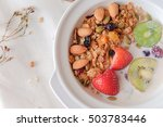 healthy breakfast with fresh... | Shutterstock . vector #503783446