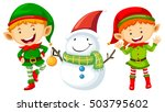 two elves and snowman... | Shutterstock .eps vector #503795602