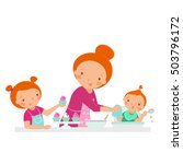 happy family. mother with two... | Shutterstock .eps vector #503796172