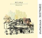 houses on the river in melaka ... | Shutterstock .eps vector #503796802