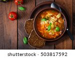 minestrone  italian vegetable... | Shutterstock . vector #503817592