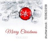 decorative silver christmas... | Shutterstock . vector #503823358