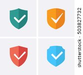 shield and tick icons. check... | Shutterstock .eps vector #503827732