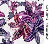 seamless background. lilies.... | Shutterstock . vector #503841298