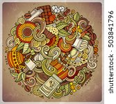 cartoon hand drawn doodles cafe ... | Shutterstock .eps vector #503841796