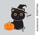 cute black cat with witch... | Shutterstock .eps vector #503847466