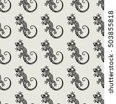 seamless salamander pattern.... | Shutterstock .eps vector #503855818