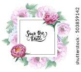 wildflower peony flower frame... | Shutterstock . vector #503859142
