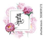 wildflower peony flower frame... | Shutterstock . vector #503859172
