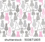 Stock vector vector seamless pattern with hand draw textured cats in graphic doodle style grey and pink colored 503871805