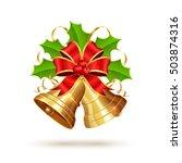 golden christmas bells with red ...   Shutterstock . vector #503874316