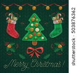 christmas cozy objects on... | Shutterstock .eps vector #503876362