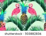 pink flamingos  exotic birds ... | Shutterstock .eps vector #503882836