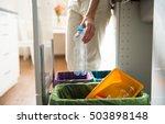 man putting empty plastic...   Shutterstock . vector #503898148