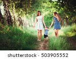 beautiful happy family resting... | Shutterstock . vector #503905552